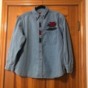 Vintage Sun Belt Southwestern Denim Shirt Sz XL